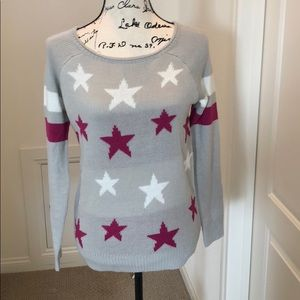 Beige sweater with pink/white stars on front NWT